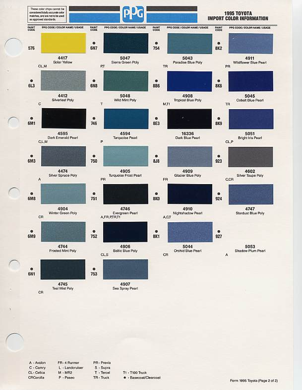 1995 toyota paint codes for Paint color codes for houses