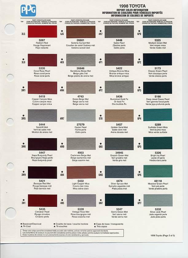 1998 Toyota Paint Codes